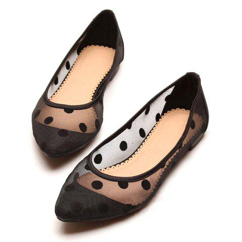 Stylish Cute Gauze Polka Dot and Candy Color Design Women's Flat Shoes - BLACK 36