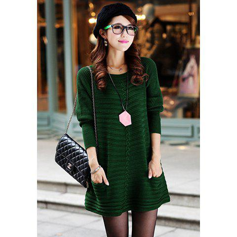 Ladylike Style Long Sleeves Scoop Neck Pocket Embellished Women's Solid Color Sweater Dress - GREEN ONE SIZE