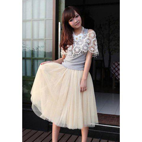 New Women Fashion Princess Fairy Style 5 layers Tulle Dress Bouffant Skirt 4 Colors - WHITE ONE SIZE