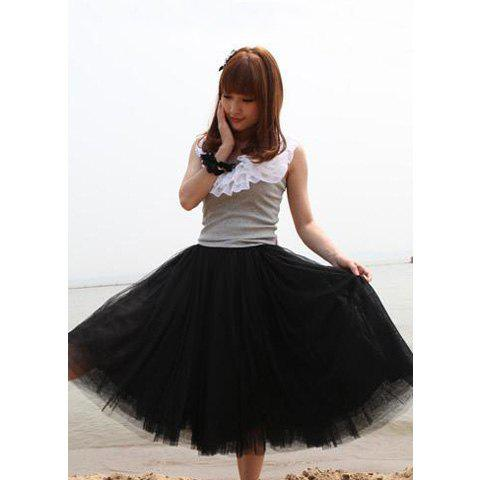 New Women Fashion Princess Fairy Style 5 layers Tulle Dress Bouffant Skirt 4 Colors - BLACK ONE SIZE
