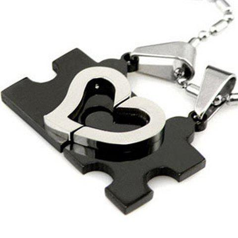 Pair of Sweet Exquisite Style Heart Shape Necklace For Couples - AS THE PICTURE