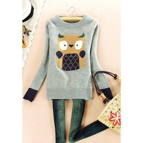 Round Neck Cartoon Owl Print Long Sleeved Women's Sweater - GRAY ONE SIZE