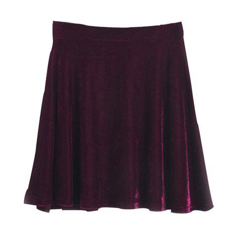 Slimming Flounce Solid Color Elastic Waist Velvet Women's Skirt - WINE RED S