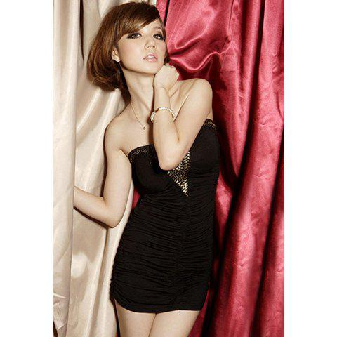 Sexy Strapless Sequin Embellished Wrapped Design Milk Silk Women's Dress - BLACK ONE SIZE
