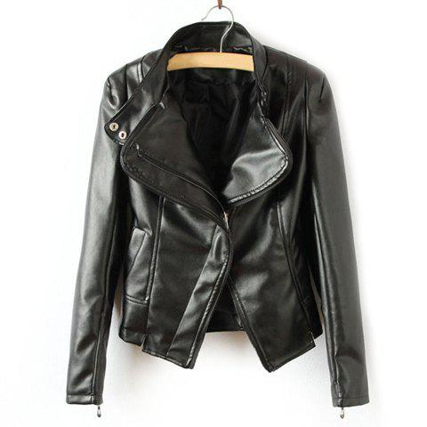 Popular Solid Color Motorcycle PU Leather Jackets For Women - BLACK L