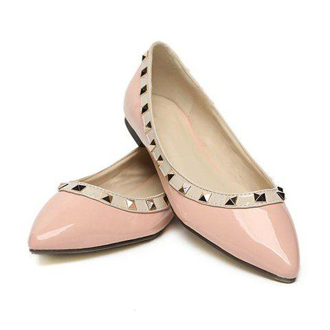 Casual Stud Embellished Patent Leather Women's Flat Shoes - PINK 36