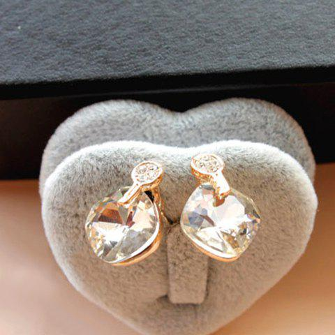 Pair of Hot Sale Retro Style Rhinestone and Crystal Pendant Design Women's Earrings - WHITE