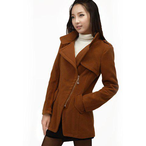 Stylish Style Lapel Neck Long Sleeves Gradient Chain Decorated Women's Coat - CAMEL 2XL