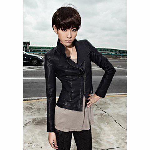 Bright Style Stand-Up Neck Long Sleeves Gradient Chain Decorated Women's Jacket - BLACK M