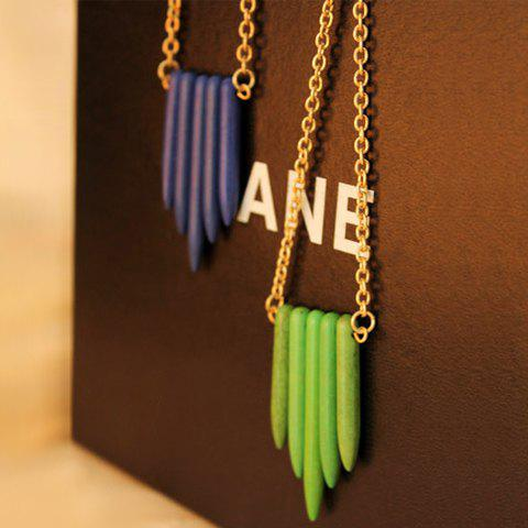 Wood Bullet Alloy Pendant Necklace - GREEN