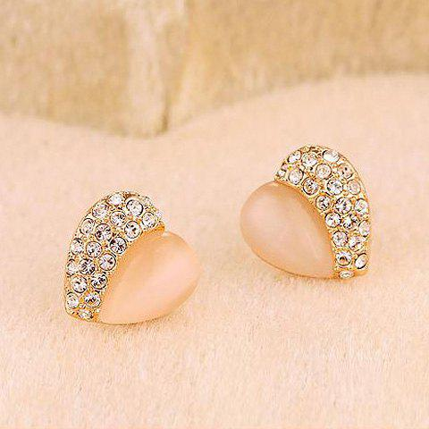 Pair Of Sweet Style Heart Shape Rhinestone Embellished Womens Stud EarringsJewelry<br><br><br>Color: AS THE PICTURE