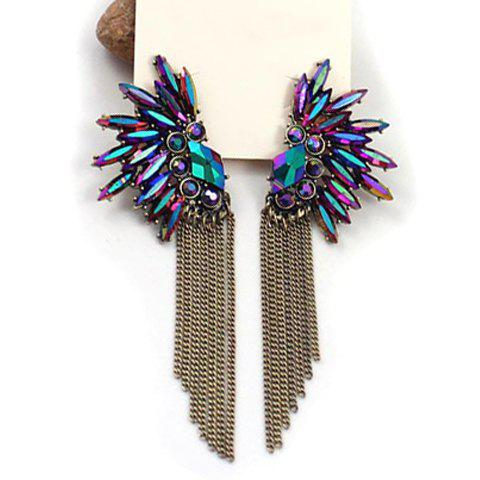 Personalized Style Rhinestone and Beads Tassels Embellished Drop Earrings -  COLORMIX