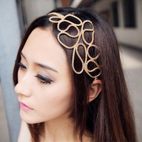 Fashionable Openwork Alloy Knitted Women's Hair Band - GOLD