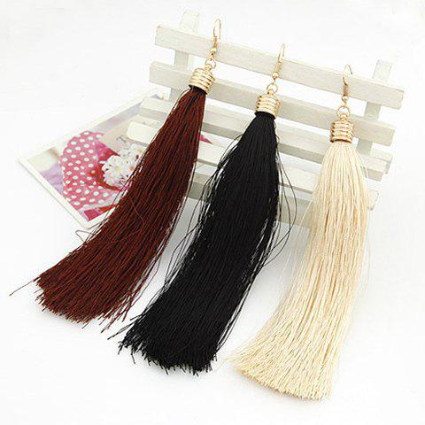 Fashion Style Solid Color Tassel Earrings For WomenJewelry<br><br><br>Color: BLACK