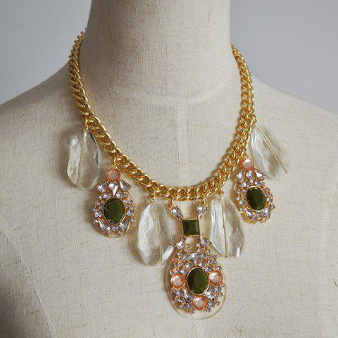 Luxury Rhinestone Embellished Pendant Retro Style Women's Necklace - AS THE PICTURE