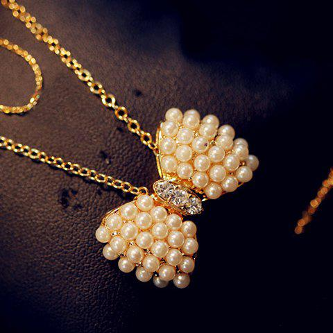 Charming Faux Pearl Embellished Bowknot Pendant Women's Necklace - AS THE PICTURE