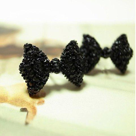 Rhinestone Embellished Bowknot Stud Earrings - BLACK