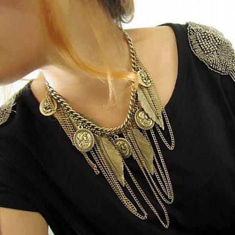 Western Style Tassel and Leaf Embellished Alloy Necklace For Women - AS THE PICTURE