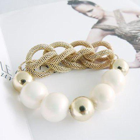 Elegant Ladylike Style Beads Embellished Women's Knitted Bracelet - AS THE PICTURE