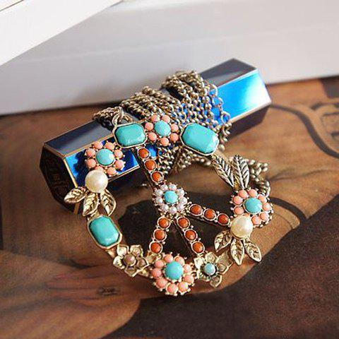 Vintage Style Colorful Bead Embellished Pendant Long Necklace For Women - COLOR ASSORTED