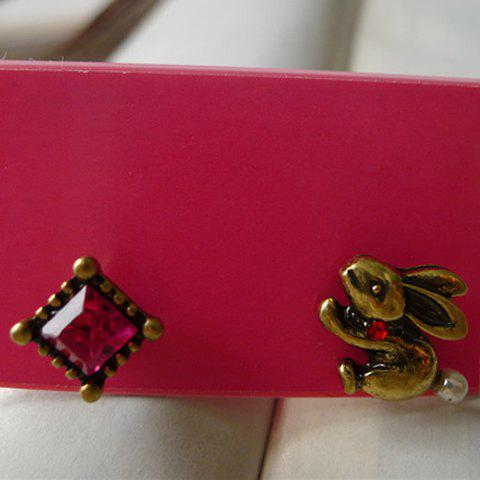 Pair Of Cute Retro Style Rhinestone Embellished Asymmetric Women's Earrings - AS THE PICTURE