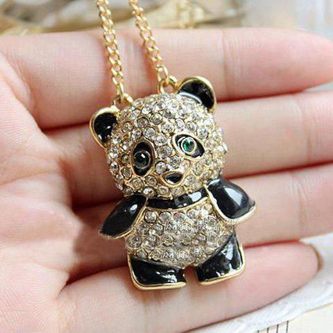 Panda Shape Rhinestone Pendant Necklace - AS THE PICTURE