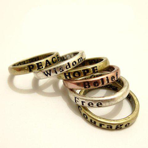 8Pcs Letter Carved Wishing Rings - BRONZE