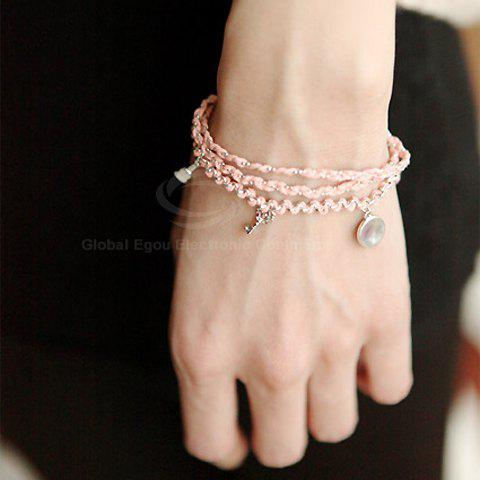 Exquisite Ladylike Style Knitted Women's Multi-Layered Bracelet - PINK