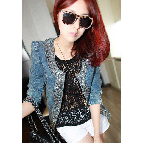 Casual Round Neck Korean Style Rhinestone Long Sleeves Jeans Women's Jacket - BLUE S