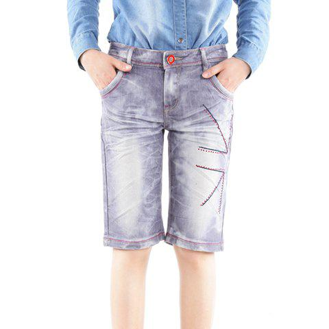 Casual Style Bleach Wash Short Jeans For Women - ONE SIZE AS THE PICTURE