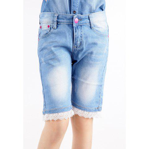 Stylish Style Bleach Wash Lace Women's Short Jeans
