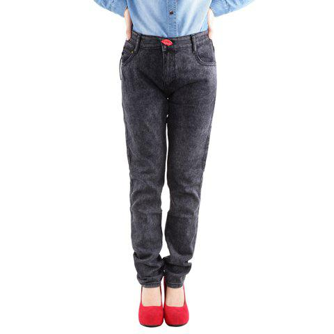 Casual Mouth Shape Buttons Jeans Women's Pants - BLACK ONE SIZE