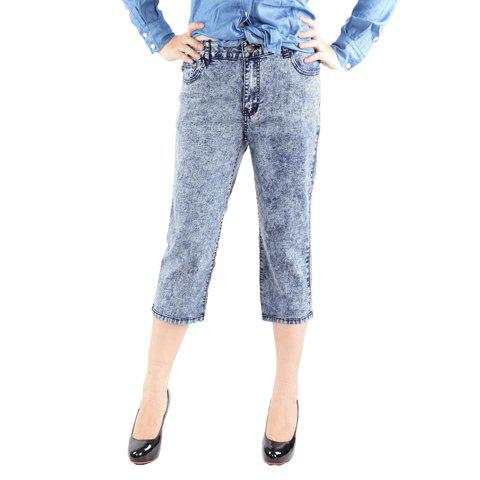 Casual Style Bleach Wash Straight Leg Jeans For Women - AS THE PICTURE ONE SIZE
