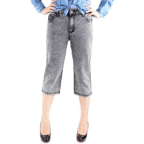 Stylish Bleach Wash Straight Leg Simple Jeans For Women - AS THE PICTURE ONE SIZE