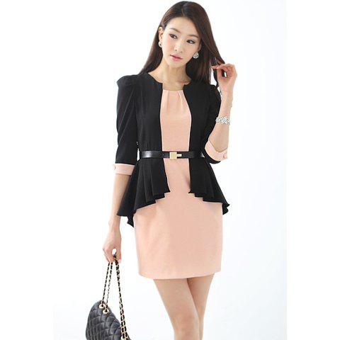 Ladylike Scoop Neck Solid Color Fake Two Piece With Waistbelt Splicing Three Quater Sleeves Chiffon Women's Dress - BLACK L