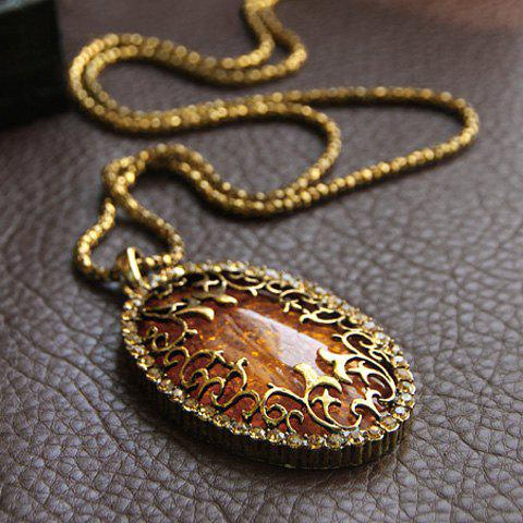 Fashion Style Amber Oval Shape Pendant Design Necklace For Women - AS THE PICTURE