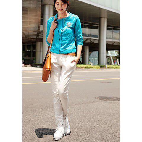 Street Style Button Embellished Solid Color Slimming Women's Harem Pants - WHITE 26