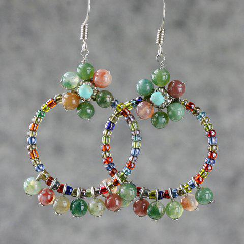 Pair of Fashion Ladylike Style Agate Embellished Women's Circle Shape Drop Earrings - AS THE PICTURE