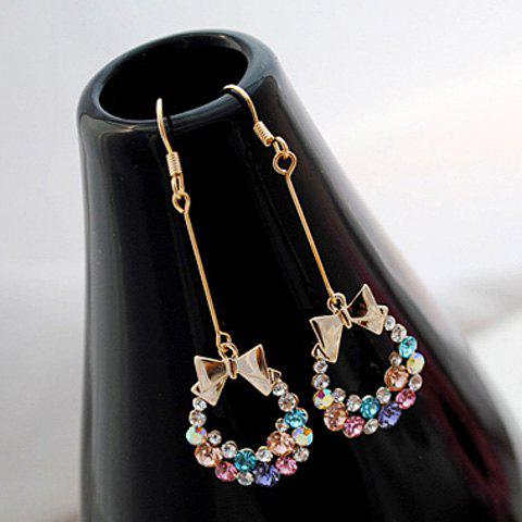 Pair of Sweet Colorful Rhinestone And Bowknot Embellished Women's Drop Earrings - AS THE PICTURE