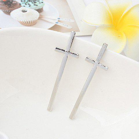 Pair of Fashion Cross Shape Solid Color Women's Stud Earrings