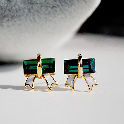 Bowknot Shape Artificial Crystal Embellished Alloy Earrings - AS THE PICTURE