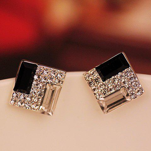 Square Shape Rhinestone Embellished Earrings - AS THE PICTURE