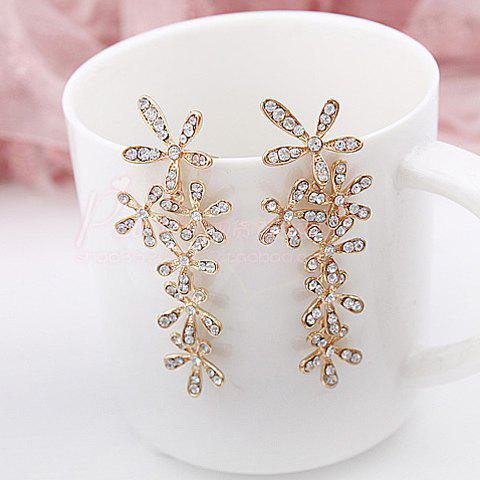 Pair of Stunning Rhinestone Flower Shape Women's Long Stud Earrings - GOLD