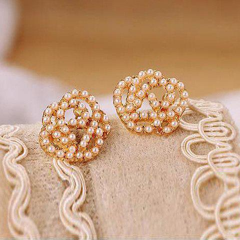 Sweet Style Beads Embellished Rose Shape Women's Stud Earrings - COLOR ASSORTED