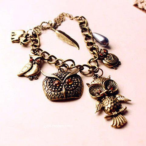 Owl Shape Charm Bracelet - AS THE PICTURE
