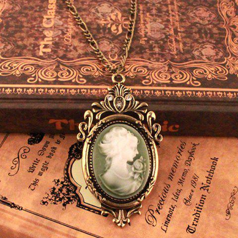 Vintage Plasthetics Embellished Women Head Necklace -  AS THE PICTURE