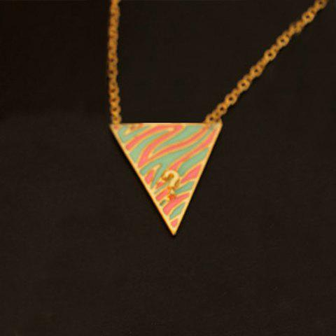 Retro Triangle Pendant Sweater Chain Necklace - PINK