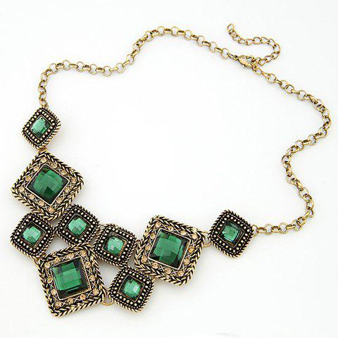Fashion Retro Style Crystal Embellished Women's Necklace - GREEN