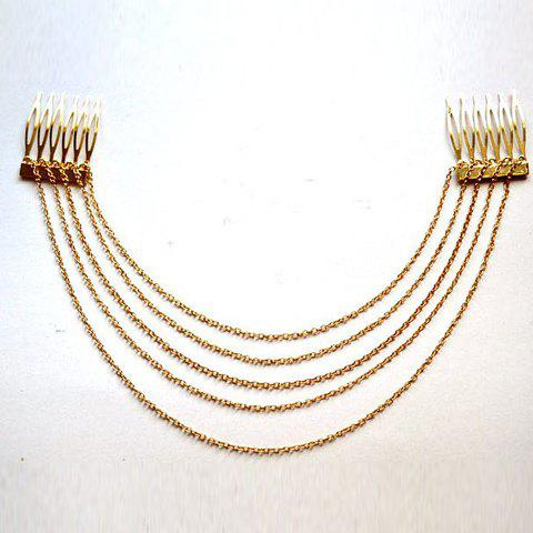 Exquisite Style Tassels Alloy Hair Comb For Women - GOLD