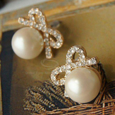 Pair of Bowknot Rhinestoned Stud Earrings - AS THE PICTURE